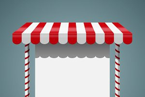 Sale stand with red awning.