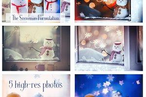 Mini Snowmen in The Window