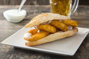 Calamari sandwich and beer