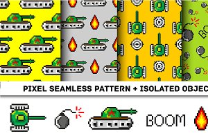 Pixel art vector objects to Fashion seamless pattern. Background with tanks, boom, for boys. trendy 80s-90s   style. Retro computers game isolated elements