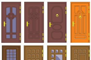 Classic interior and front wooden doors - vector