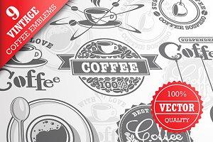 Set of 9 vintage coffee emblems