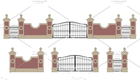 Forged iron gate with pillars in Illustrations