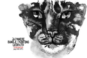Leopard. Japanese painting sumi-e
