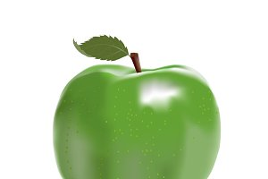 green ripe apple isolated over white