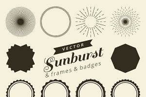 Set of vintage line frames and labels with sunburst. Hipster border design light ray. Suitable for banner, label, sticker, apparel, tags, screen printing. Vector illustration