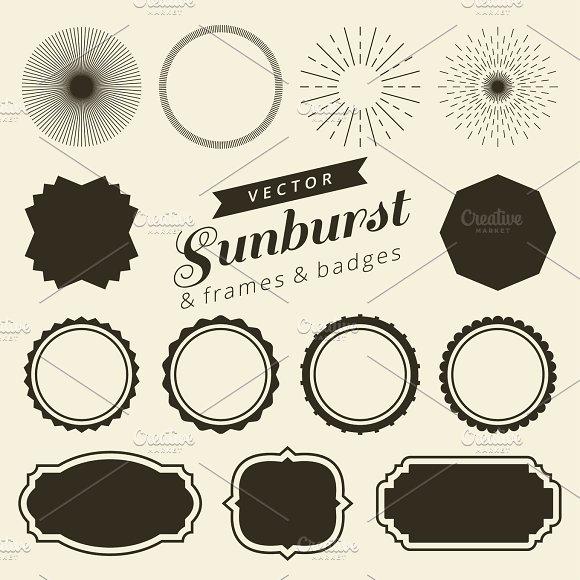 set of vintage line frames and labels with sunburst hipster border