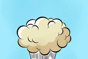 Cloud after the Boom. Comic book explosion on halftone pixel blue background