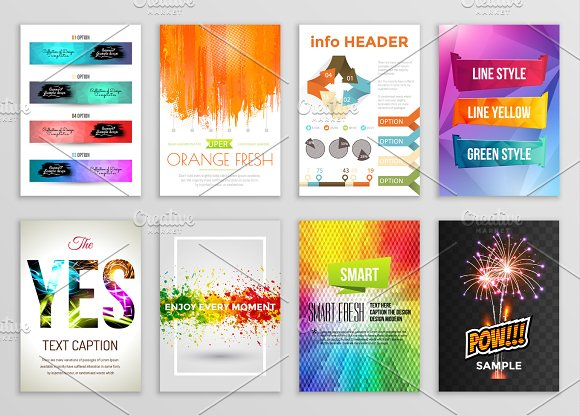 Abstract Backgrounds Set Geometric Shapes And Frames For Presentation Annual Reports Flyers Brochures Leaflets Posters Business Cards Document Cover Pages Design A4 Title Sheet Template