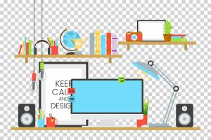 Office workplace design concept set with book shelves and cup of coffee on desk vector illustration. Computer, lamp, sound acoustic