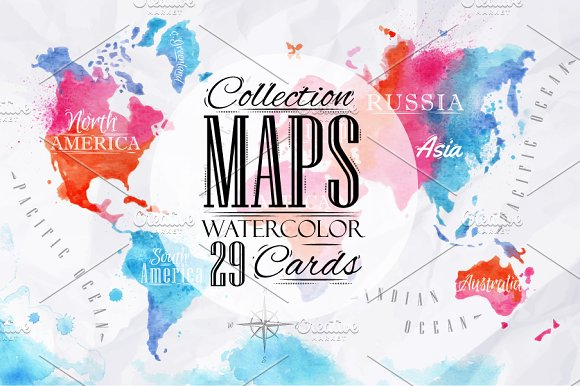 Watercolor world map illustrations creative market gumiabroncs Images