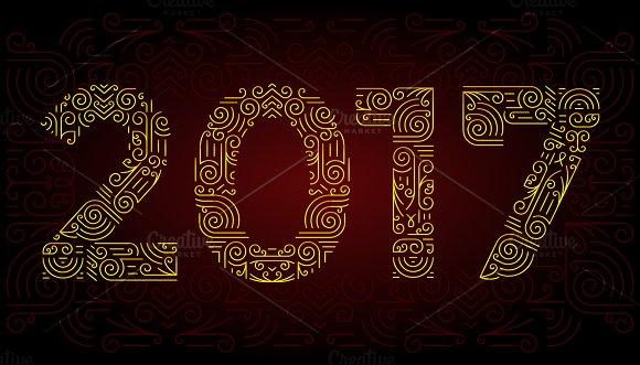 Year Mono Line Elegant Design Elements Symbols Frame Vector Illustration