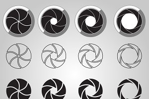 Camera shutter aperture icons