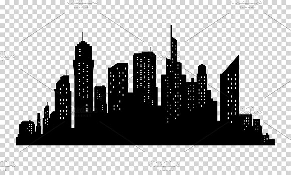 City Skyline In Grey Colors Buildings Silhouette Cityscape Big Streets Minimalistic Style Vector Illustration