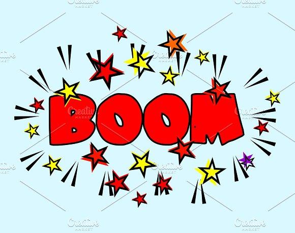 Comic Book Cartoon Boom Explosion Splash With Stars