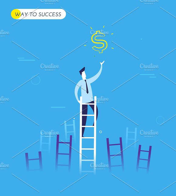 Businessman Climbs The Stairs To Get A Dollar