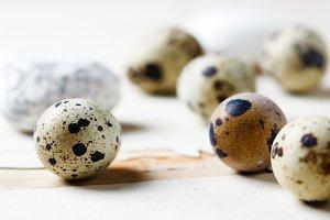 Quail eggs lying on the table
