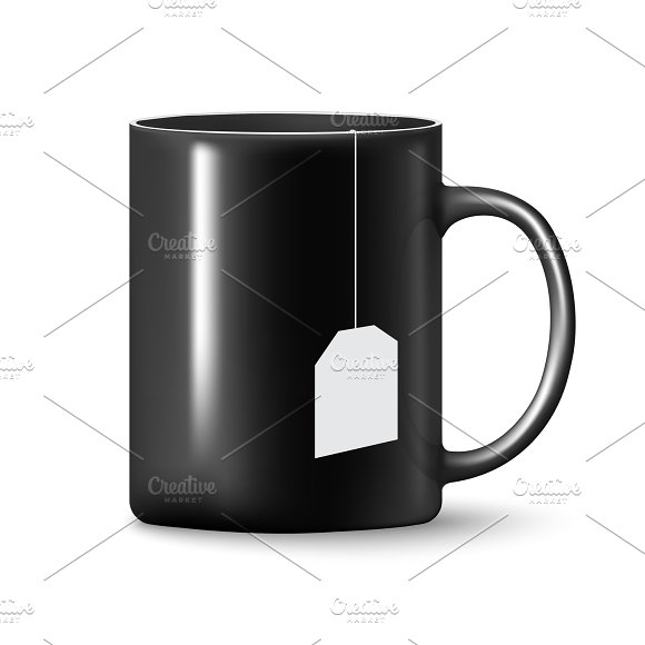 Vector Black Mug Cup Isolated