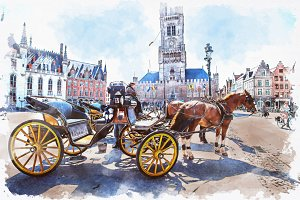 Watercolor of Bruges Belgium.