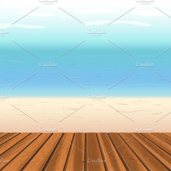 Wooden Floor Against Sea
