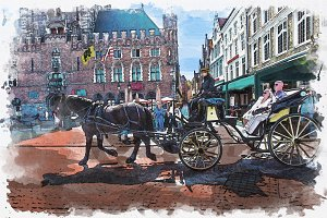 Watercolor of Carriage in town