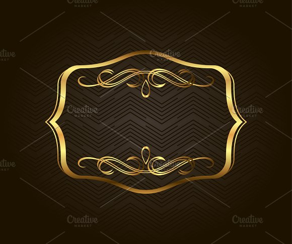 Blank Golden Vintage Frame Banner Label Vector EPS10 Gold Decorative With Place For Text