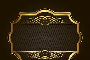 Golden frame for placing your picture or text behind. Vintage gold background, vector antique on black