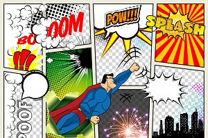 Mock-up of a typical comic book page. Vector Comics Pop art Superhero concept blank layout template with clouds beams, speech bubbles isolated. Bubles, symbols on colored Halftone Backgrounds