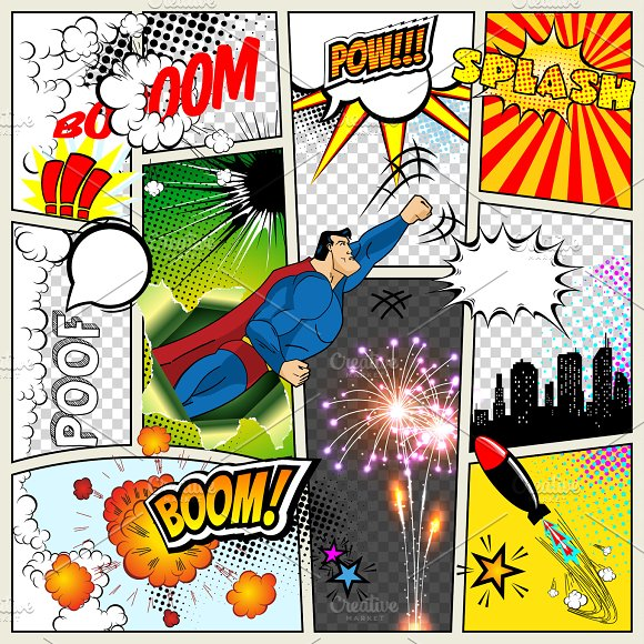 Mock-up Of A Typical Comic Book Page Vector Comics Pop Art Superhero Concept Blank Layout Template With Clouds Beams Speech Bubbles Isolated Bubles Symbols On Colored Halftone Backgrounds