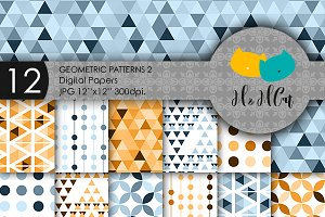 12 Geometric Digital Papers - 2