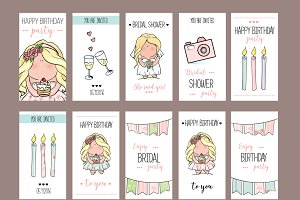 girl party invitation or congratulation cards