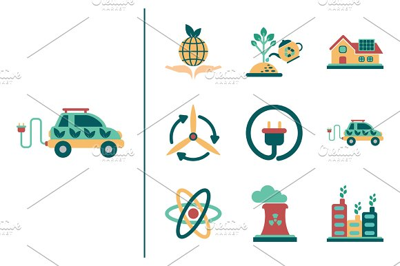 Concept Of Flat Icons With Long Shadow Ecology