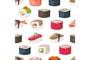 Sushi and rolls seamless pattern vector.