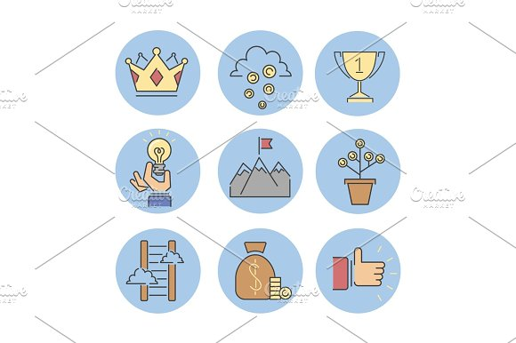Business Success Vector Icons Set