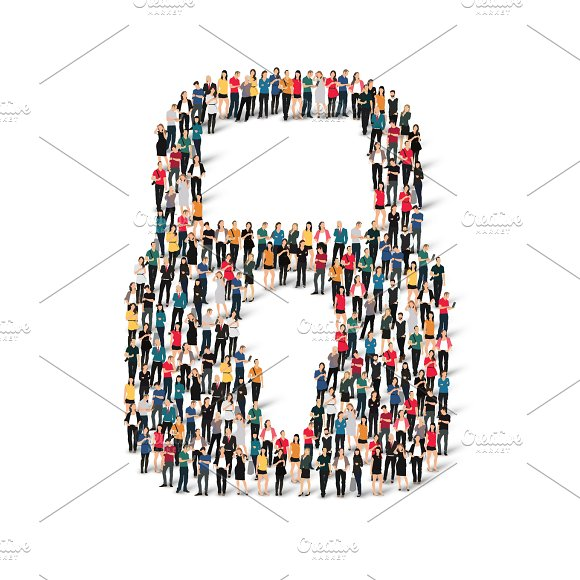 People Shape Lock Vector Group