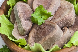 Boiled beef tongue