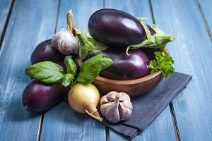 Fresh healthy eggplants