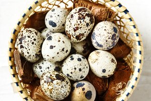 Food background with quail eggs