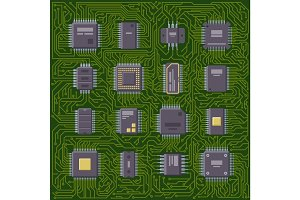 Microchip computer plate vector illustration.