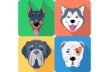 set 9 dog head icon flat design