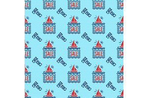 Summer sale badge vector seamless pattern.