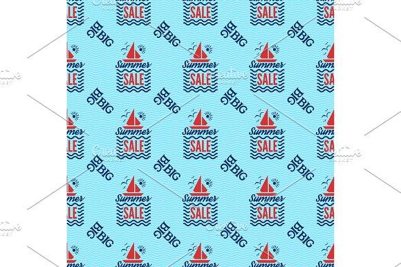 Summer Sale Badge Vector Seamless Pattern