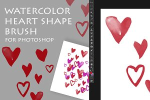 Watercolor Heart Shape Brush