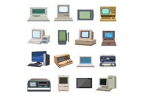 Old vintage computer set vector.