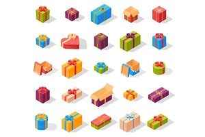 Isometric gift box set vector.
