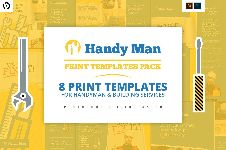 Handyman business card Photos, Graphics, Fonts, Themes, Templates ...