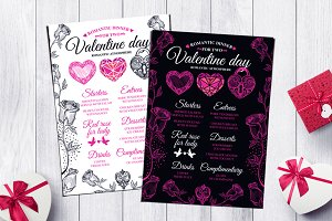 Valentine menu, restaurant flyer #43