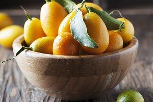 Fresh kumquat with green leaves