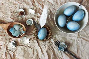 Still life with blue easter eggs