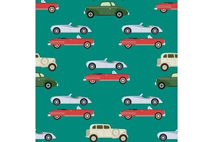 Retro car seamless pattern vector illustration.